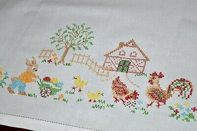 Easter Day On The Farm W/ Worker Bunny & Rooster Hen! Vintage German Tablecloth