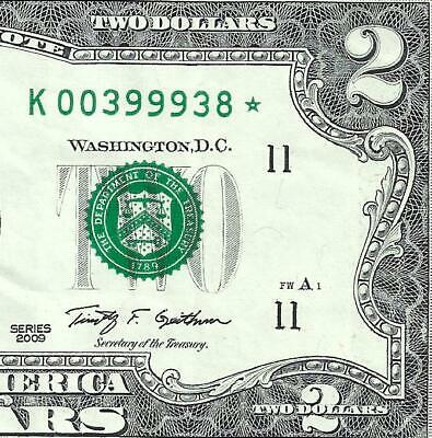 2009 $2 **STAR** (~DALLAS~) CIRCULATED! Old US Paper Money Currency