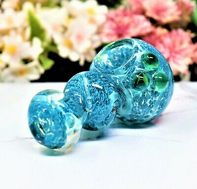 """4.5"""" Blue Curvy Bowl Collectible Tobacco Glass Smoking Herb Hand Pipes"""