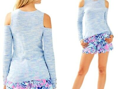 Lilly Pulitzer NWT Lyon Pullover Sunny Shoulder Sweater Lapis Blue Space Dye $98