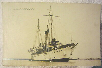 Vintage U.S.S. Dubuque ship real photo postcard Military,Navy ?