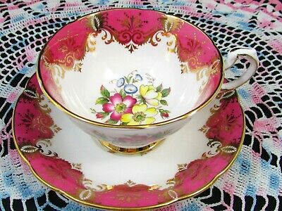 Paragon Hot Pink Ornate Gold Designs Floral Tea Cup And Saucer