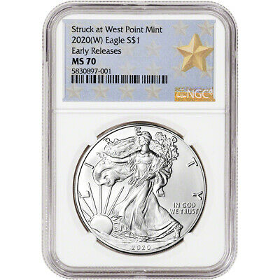 2020-(W) American Silver Eagle - NGC MS70 - Early Releases - Star Label