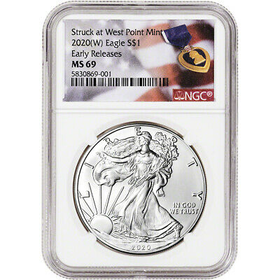 2020-(W) American Silver Eagle - NGC MS69 - Early Releases - Purple Heart