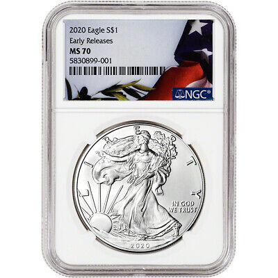 2020 American Silver Eagle - NGC MS70 - Early Releases - Flag Label