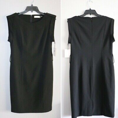 Calvin Klein Womens Scoop Neck Knee Length Dress Black Size 4