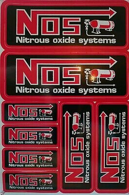 Sheet Of Nitrous Oxide Systems Nos Decal Stickers In Red&Black