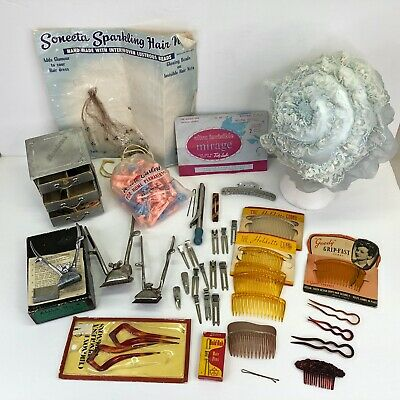 Junk Drawer Lot of Vintage Hair Items Clippers Hairpins Curlers Combs Hair Nets