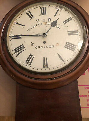 Antique Railway Wall  Clock VR By Gillett And Johnston