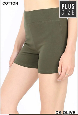 Zenana Outfitters 3X Shorts Wide Waistband  Premium Stretch Cotton Blend Olive