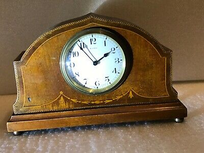 Mantle clock mahogany case with  inlays Edwardian