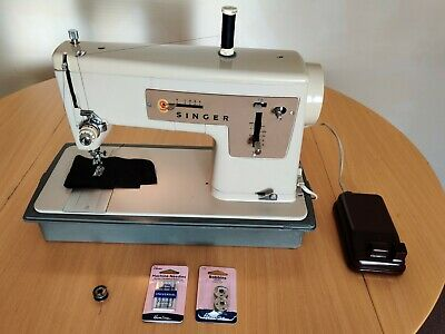 Singer Sewing Machine Model 427 with case serviced +accessories