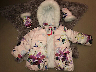 Ted Baker Girls Coat Age 2-3 Owl Hummingbird Floral Pink