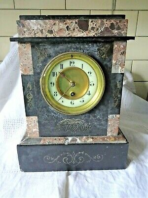 Antique Slate Mantle Clock, Marked Mr Cracknell Thurton West No 86, Unknown cond