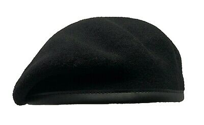Laulhere Military Commando Small Crown Beret - BLACK - Merino Wool - All Sizes
