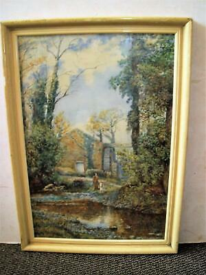 R Dearn Late C19Th To Early C20Th Fishing By An Old Mill  Landscape Watercolour