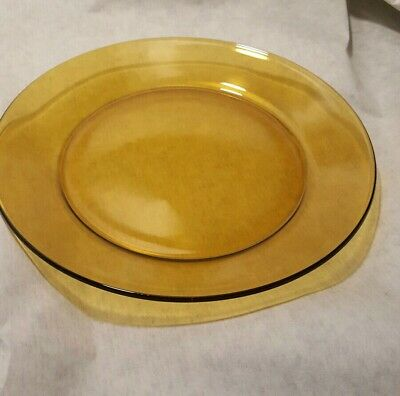 """Lot of 4 ARCOROC France Clear Amber, Brown, Gold Glass Salad, Luncheon Plates 8"""""""