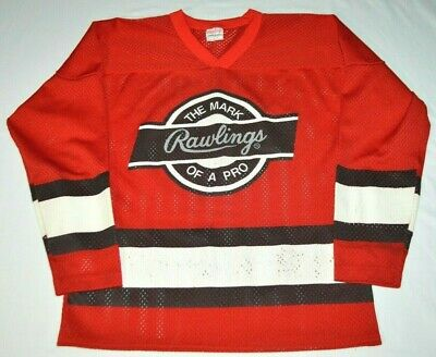 """Vintage Rawlings """"The Mark of a Pro"""" Red Mesh Hockey Jersey Made in USA Boys L"""