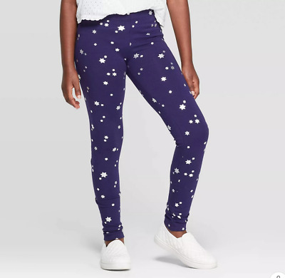 Girls' Silver Star Print Leggings - Cat & Jack™ Navy SMALL LARGE #c91