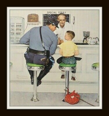 "Large Norman Rockwell Print ""RUNAWAY"" - 15"" x 11.75"" Boy with Policeman"