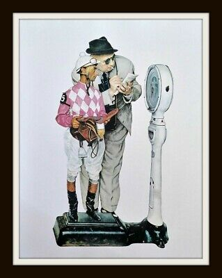 """Norman Rockwell equestrian print /""""WEIGHING IN/"""" 11x15/""""  jockey horserace Weigh In"""