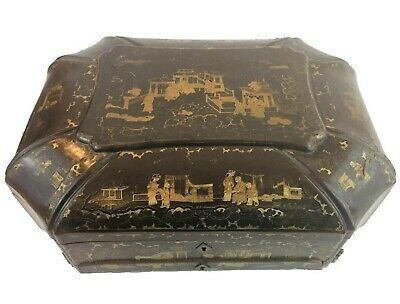 Chinese paper mache Box with Sewing Implements, c. 1840