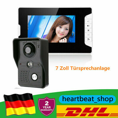 "7"" LCD Gegensprechanlage Türsprechanlage Monitor Klingel Sprechanlage&IR Camera"
