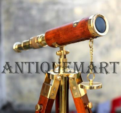 Antique Brass Leather Telescope Nautical With Stand Wooden Tripod Vintage Gift