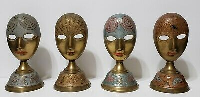 Antique Mardi Gras Brass Masks On Stand - Traditional - Vintage - Folk Art