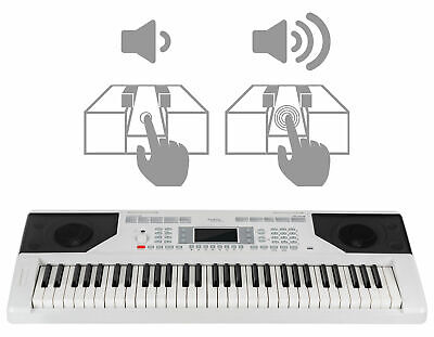 Digital 61-Tasten Keyboard E-Piano 300 Sounds & Rhythmen Touch Response Weiß