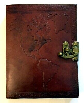 Map of the World 240 Page Embossed Leather Journal with Metal Lock 6x8 In Diary