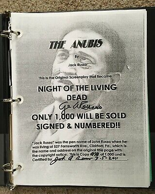 Anubis Script Night of the Living Dead Signed by John Russo and George Romero