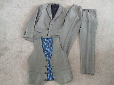 WORN TWICE BOYS GREY 3pce SUIT NEXT SIGNATURE AGE 9yr JACKET TROUSERS WAISTCOAT