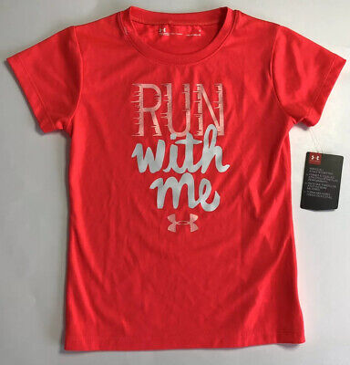NWT Under Armour Youth Girls Sz 5 Run With Me Print Short Sleeve T Shirt Red New
