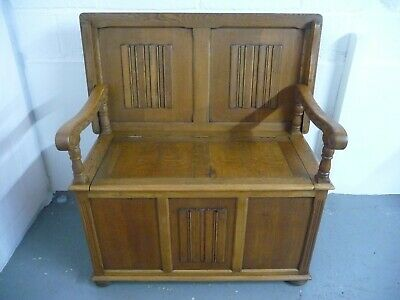 Antique Solid Oak Monks Bench Table Seat With Storage Hall Seat