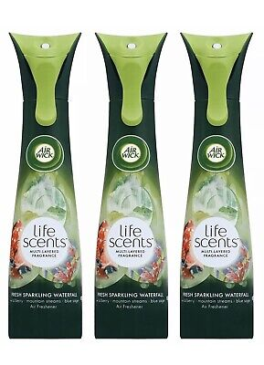 3 Pk Air Wick Life Scents Spray Freshener Sparkling Waterfall Mountain Scent 7.4