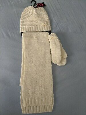 NEW Primark Girl's Cream Scarf, Hat and Glove Set - Size M-L