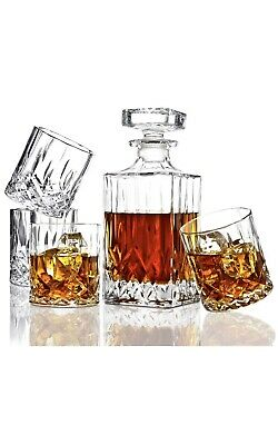 Elidomc 5 PC Italian Crafted Crystal Whiskey Decanter & Whiskey Crystal Glasses