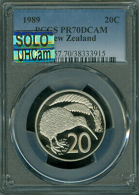 1989 NEW ZEALAND 20 CENTS PCGS PR70 UHCam MAC SOLO FINEST MAC SPOTLESS *