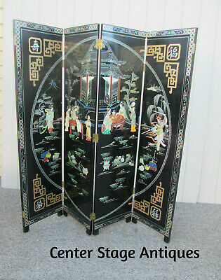 58775  4 Section Oriental Dressing Screen Rooom Divider