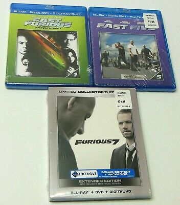 THE FAST AND THE FURIOUS 1 5 & 7 Blu Ray DVD Digital Lot BRAND NEW SEALED FAST