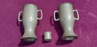 Pair Rare Antique Craftsmen Pewter Metal Vases