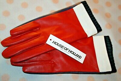 Womens Designer House of Holland Real Soft Leather Gloves BNWT Red/Navy Warm
