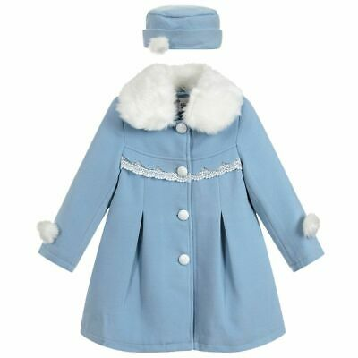 Bnwt girls blue lined classic lined coat with detachable fur collar and hat