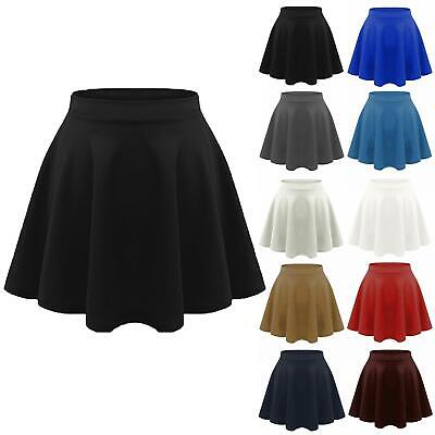 Kids Girls High Waisted Stretch Skater Skirt Flared Uniform School Mini Skirts