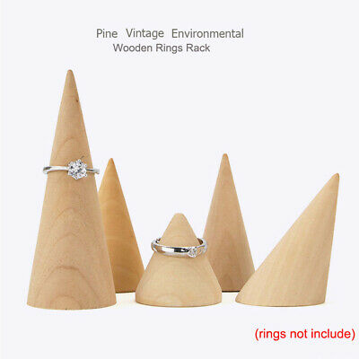 Natural Unpainted Wooden Ring Jewelry Display Rack Stand Cone Shape Organizer