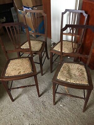 4 X Set Antique Vintage Dainty Dining  Chairs Arts Crafts    13/1/V