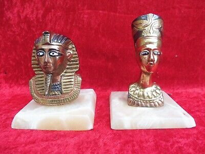 2 Beautiful, Old Metal Figures, Busts : Does Anch Amun u.Nofretete , Aegyten