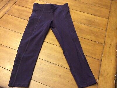 Athleta Girl's Purple Mesh Cut Out Crop Leggings side pockets  Size L Large 12