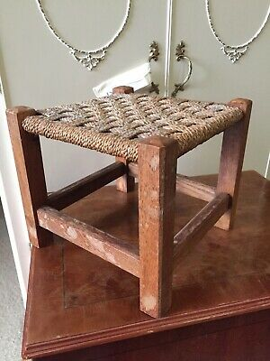 Vintage Traditional Fireside Stool String Weave Seat 13/1/T